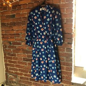 {Vintage} Blue Abstract Leslie Fay Dress